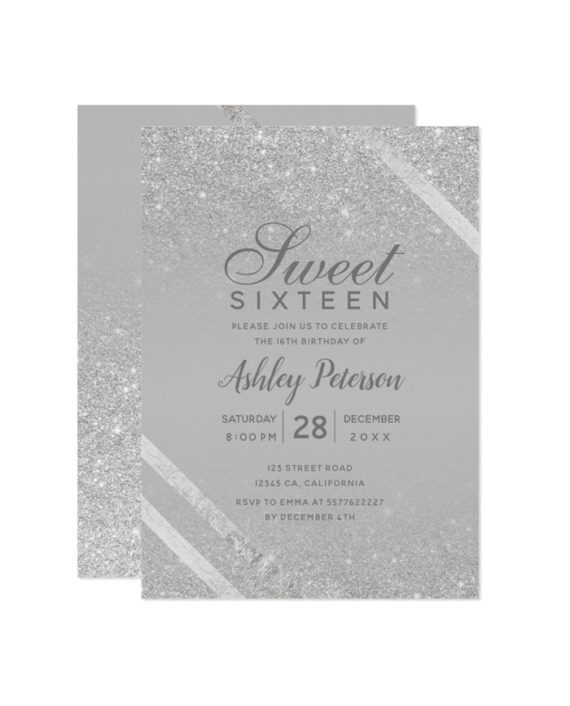 silver typography stripe glitter gray Sweet 16 Invitation
