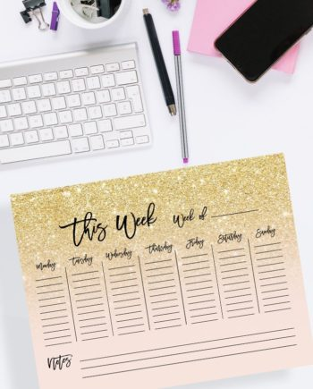 weekly planner gold glitter blush pink preview