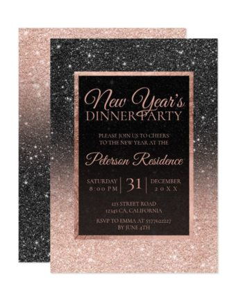 Black rose gold glitter elegant chic New year Invitation