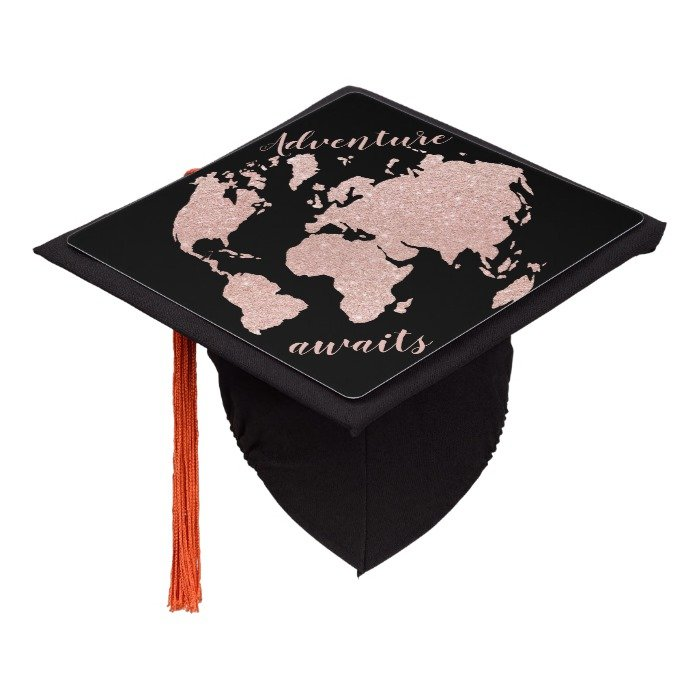 Chic adventure awaits rose gold glitter world map graduation cap topper