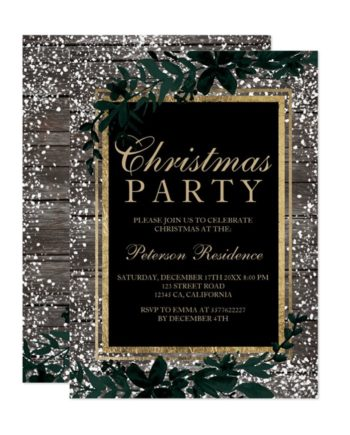 Chic gold typography leaf snow wood Christmas preview