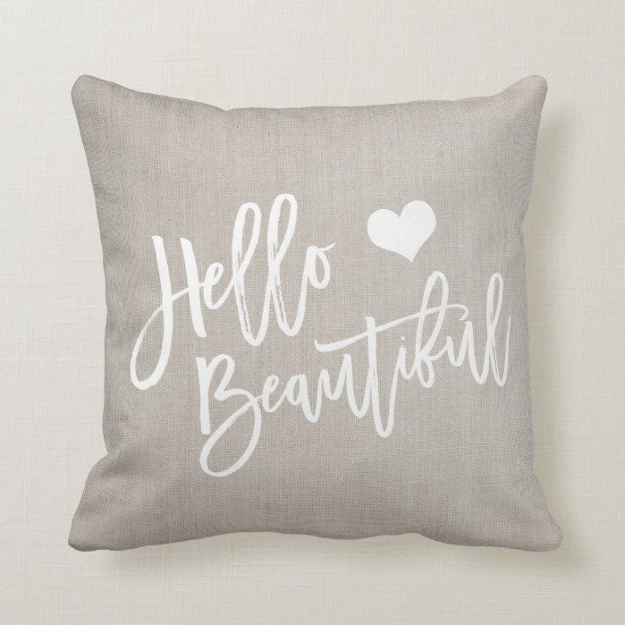 Chic white hello beautiful heart rustic linen throw pillow