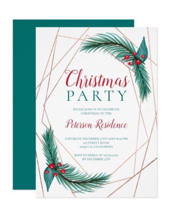 Christmas party pine mistletoe geometric rose gold printable invitation