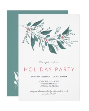 Elegant green pink mistletoe branch Holiday party printable invitation