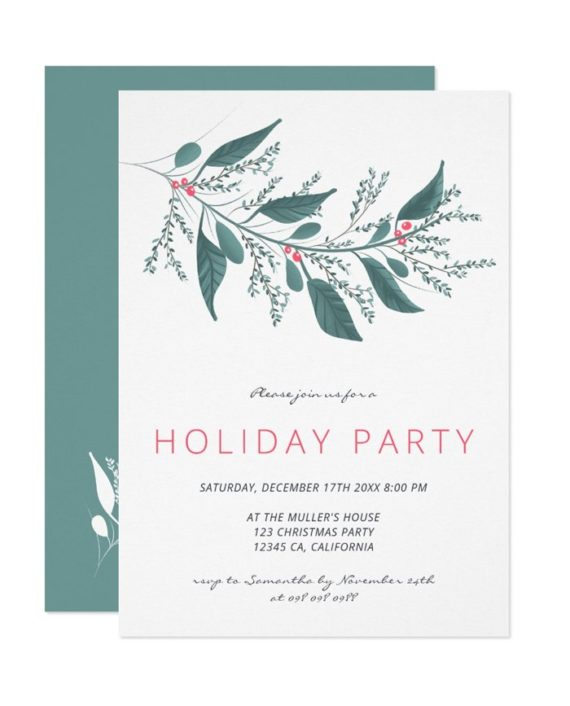 Elegant green pink mistletoe branch Holiday party printable invitation