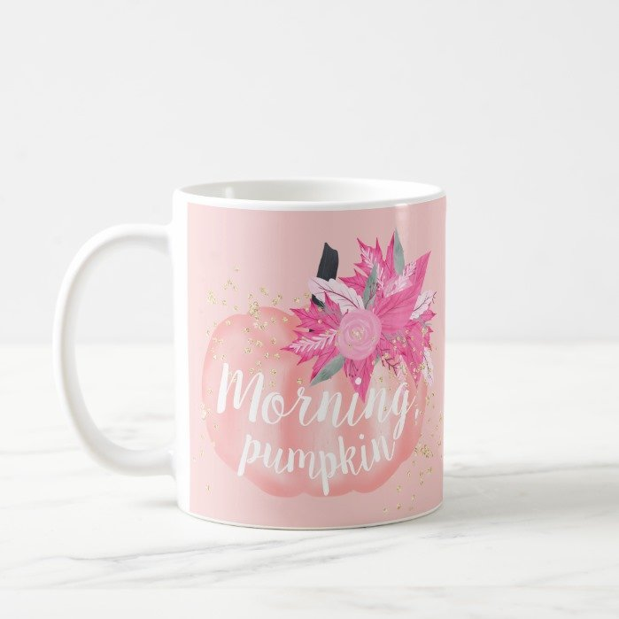Fall morning pink pumpkin watercolor gold glitter coffee mug