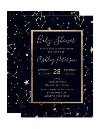 Gold constellation star navy blue baby shower printable invitation