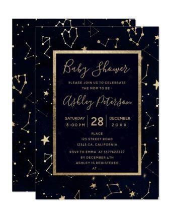 Gold constellation star navy blue baby shower printable invitation