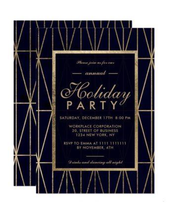 Gold geometric navy blue Christmas winter corporate holiday invitation