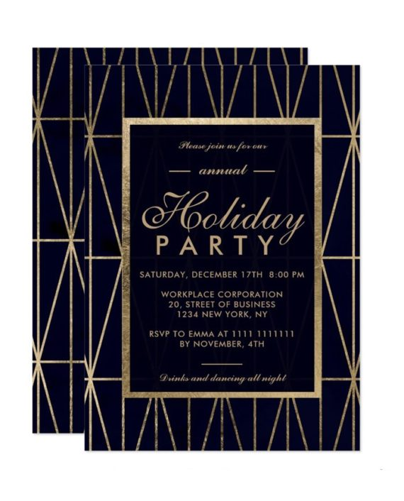 Gold geometric navy blue Christmas winter corporate holiday invitation