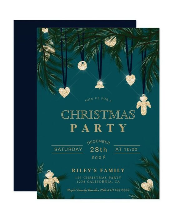 Green teal gold Christmas pine branches glitter Invitation