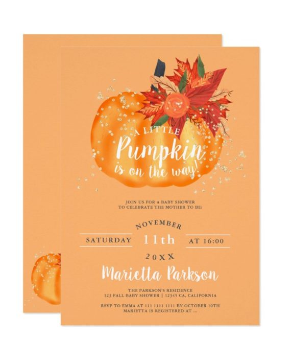 Little pumpkin floral pastel orange 2 fall baby shower invitation printable