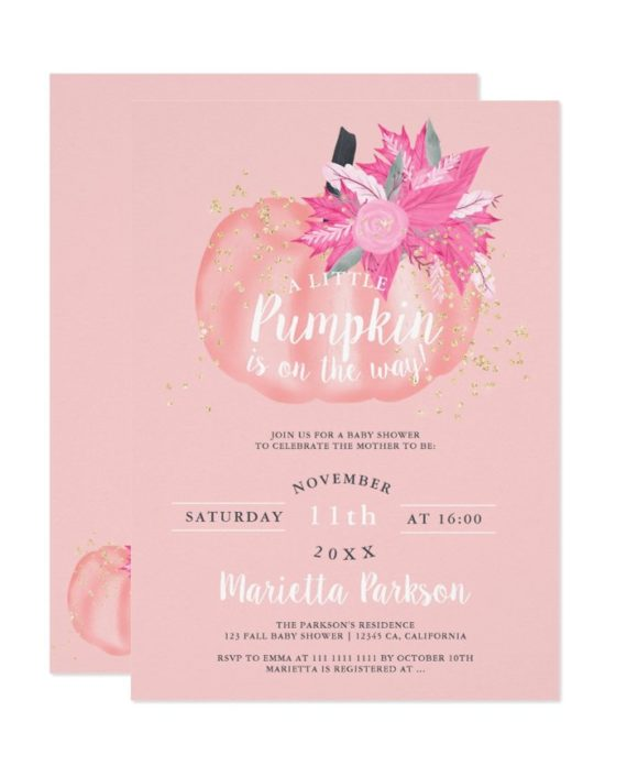 Little pumpkin floral pastel pink fall baby shower printable invitation