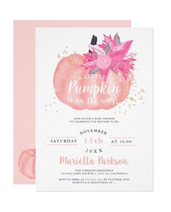 Little pumpkin floral pastel white pink fall baby shower printable invitation