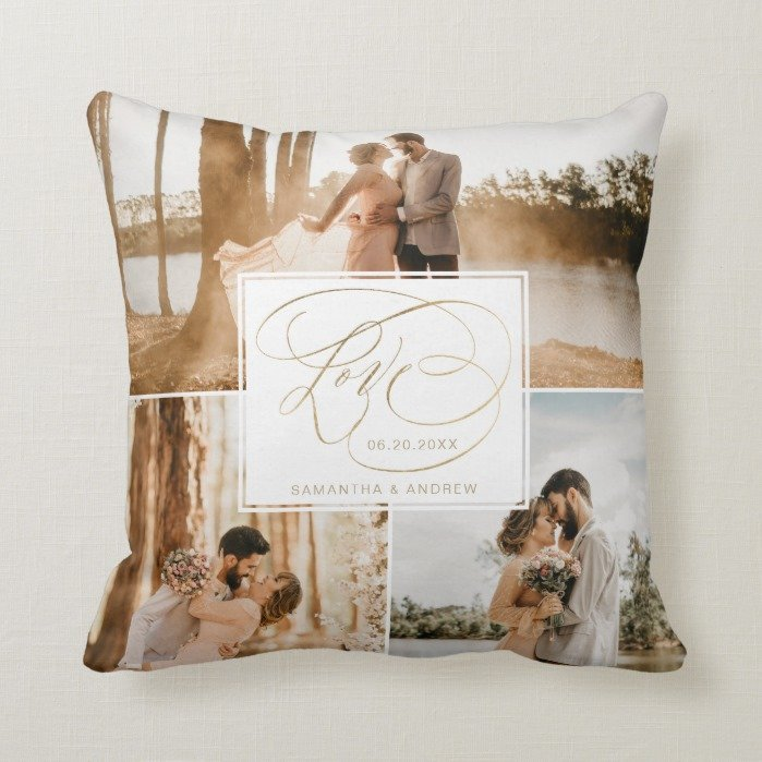 Love 3 photo grid wedding typography gold grey throw pillow