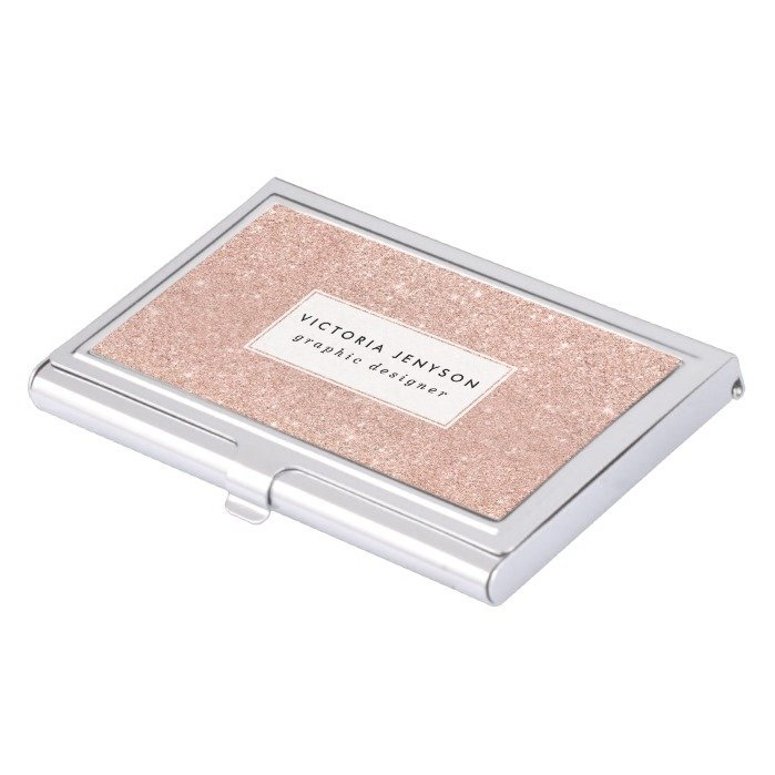 Modern girly chic faux rose gold glitter business card holder