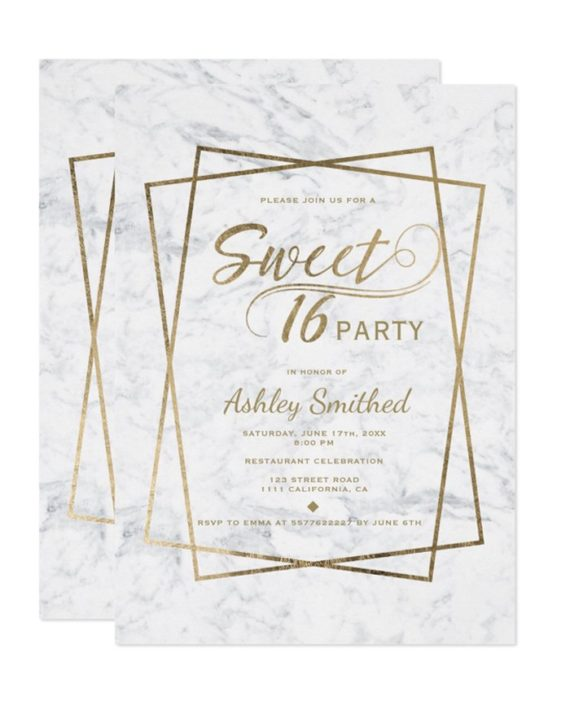 Modern gold typography marble Sweet 16 Invitation