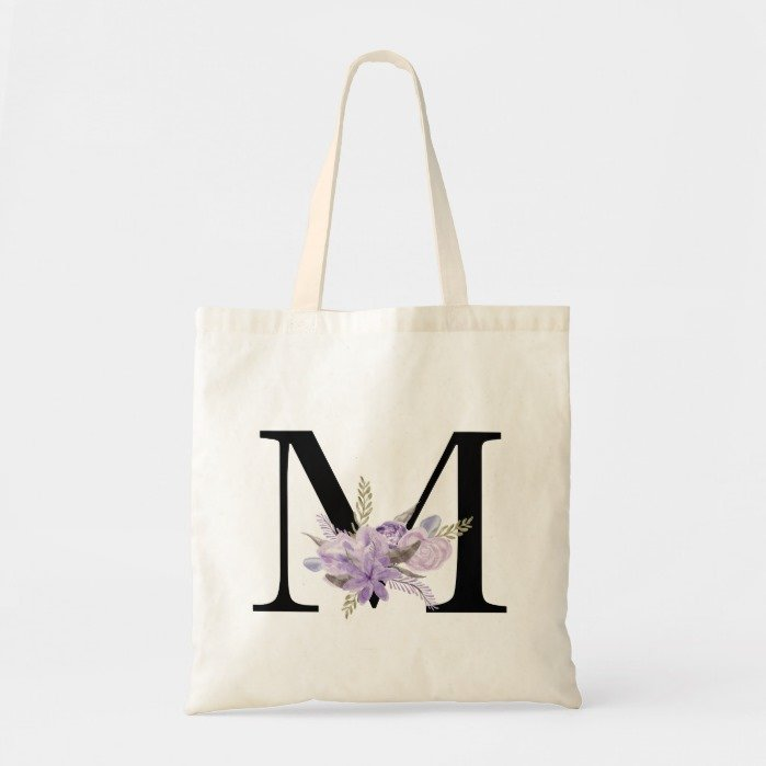 Modern purple floral watercolor letter monogram tote bag