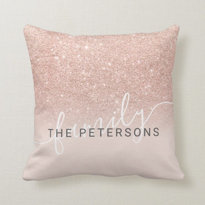 Modern rose gold glitter blush family monogram throw pillow