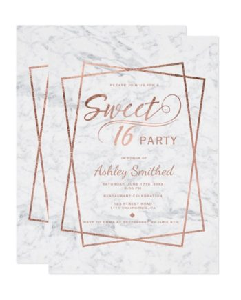 Modern rose gold typography marble Sweet 16 Invitation
