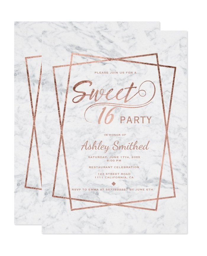 graphic relating to Printable Sweet 16 Invitations titled Printable ground breaking rose gold typography marble Lovable 16 Invitation