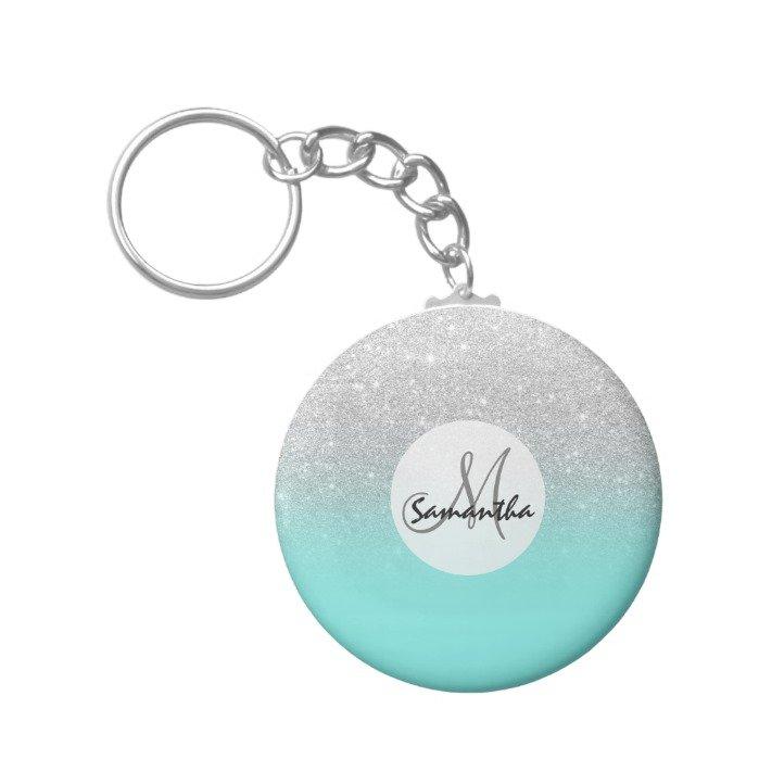 Modern silver glitter ombre teal ocean keychain