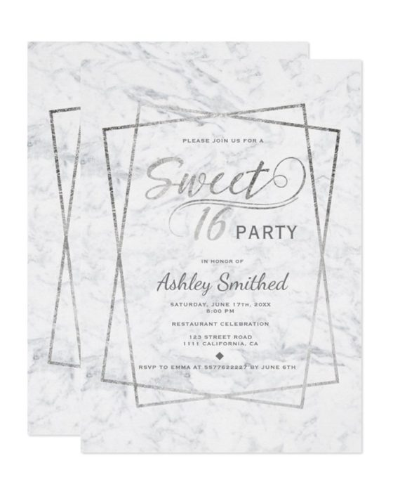 Modern silver typography marble Sweet 16 Invitation