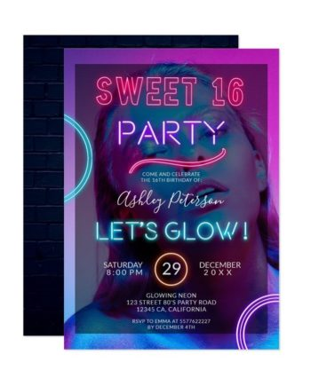 Neon sign glow in your photo pink bright Sweet 16 Invitation