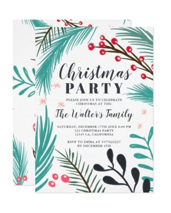 Oversized hand drawn branches mistletoe Christmas printable invitation