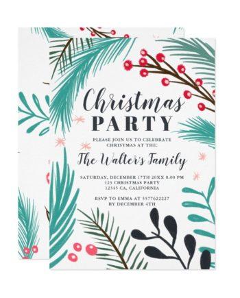 Oversized hand drawn branches mistletoe Christmas printable invitation