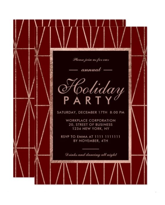 Rose Gold geometric red winter corporate holiday invitation