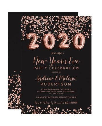 Rose gold confetti balloons New Year's eve 2020 printable Invitation