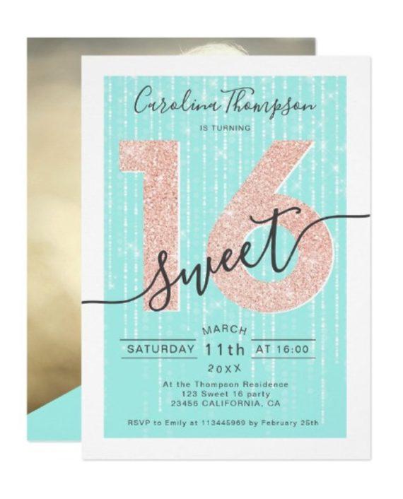 Rose gold glitter script teal light Sweet 16 photo Invitation