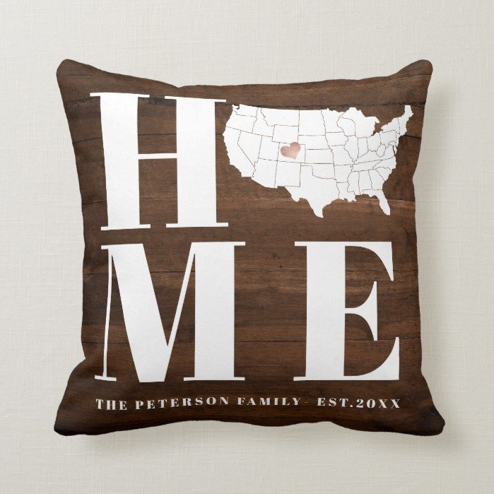 Rustic Home USA map heart wood family typography Throw Pillow