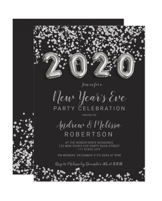 Silver confetti balloons New Year's eve 2020 Invitation