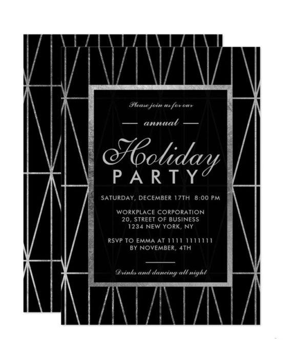 Silver geometric navy blue winter corporate holiday invitation