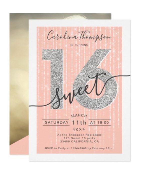 Silver glitter script coral Sweet 16 photo Invitation