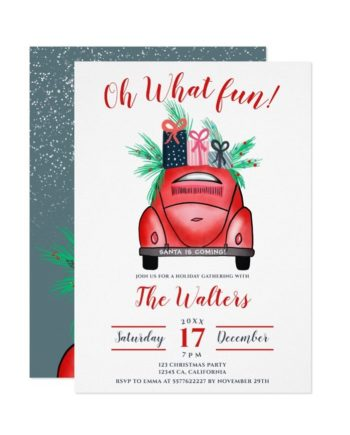 Watercolor red Car illustration Christmas party printable Invitation