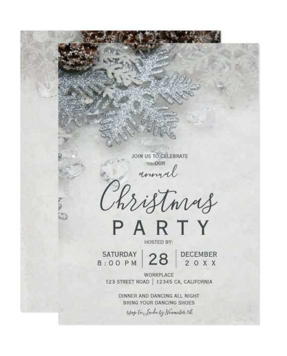 Winter wonderland silver snow Christmas corporate Invitation preview printable
