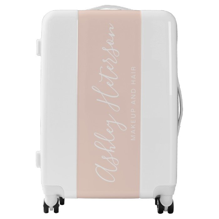 modern elegant white blush pink typography name luggage