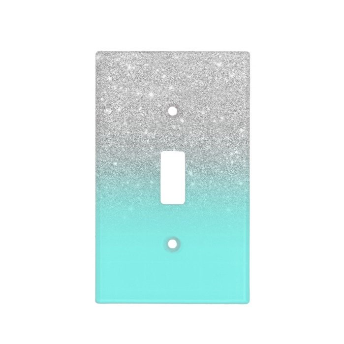 Modern silver glitter ombre teal ocean light switch cover