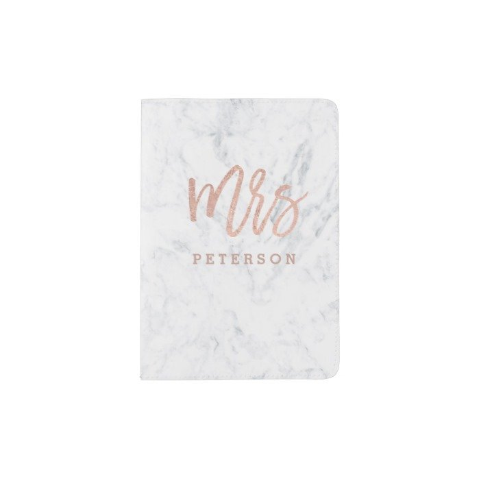 Mrs passport rose gold typography white marble passport holder