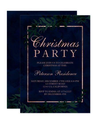 rose Gold typography Floral navy blue leaf Christmas Invitation