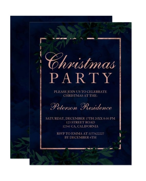 rose Gold typography Floral navy blue leaf Christmas Invitation