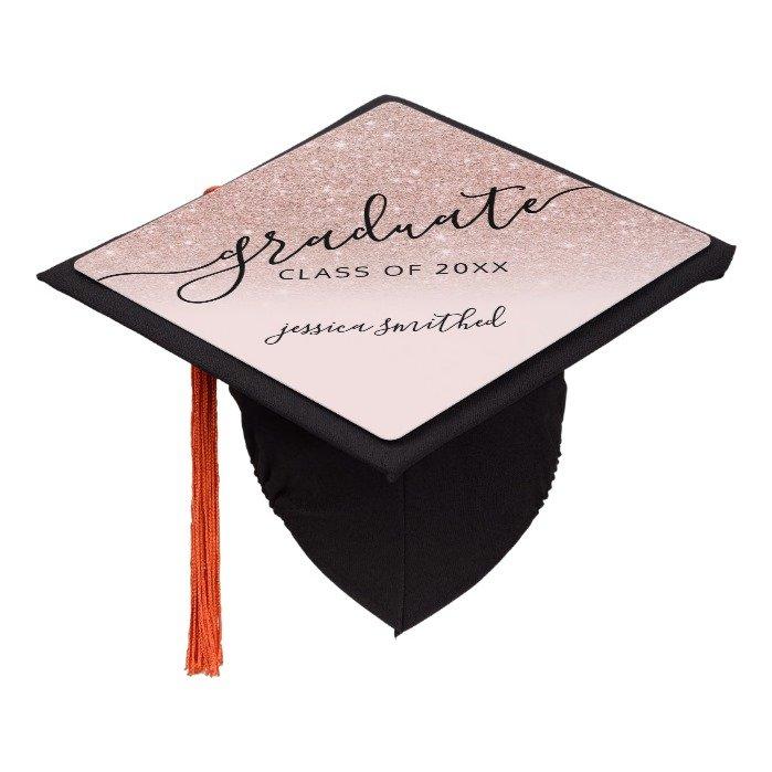 rose gold glitter elegant chic typography graduate graduation cap topper