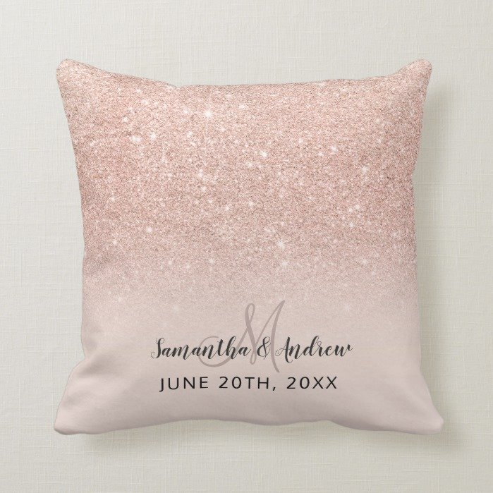 Rose gold faux glitter pink ombre wedding keepsake throw pillow