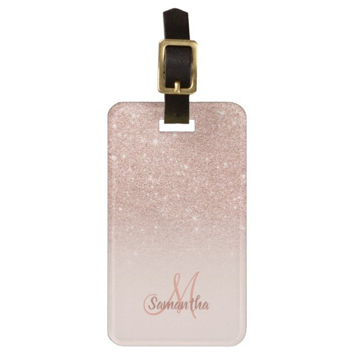 Rose gold glitter ombre blush chic add your name bag luggage tag