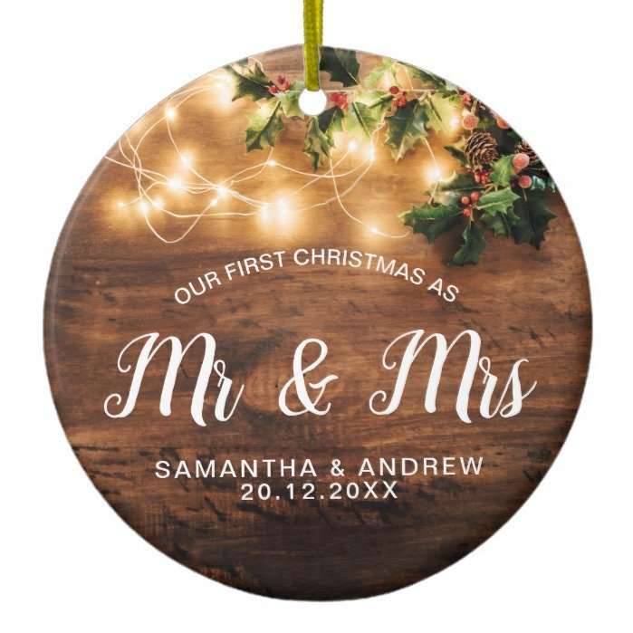 Rustic Christmas country mistletoe light Mr & Mrs Ceramic Ornament