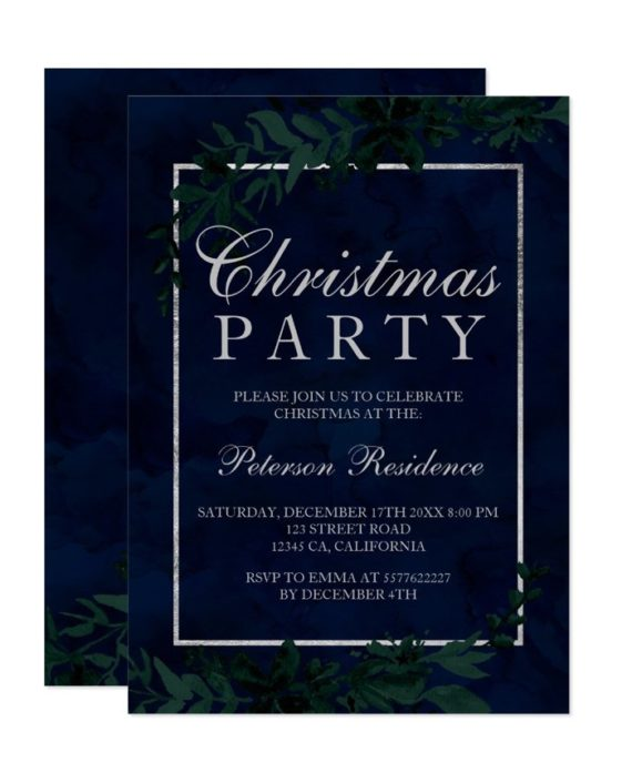 silver typography Floral navy blue leaf Christmas printable Invitation