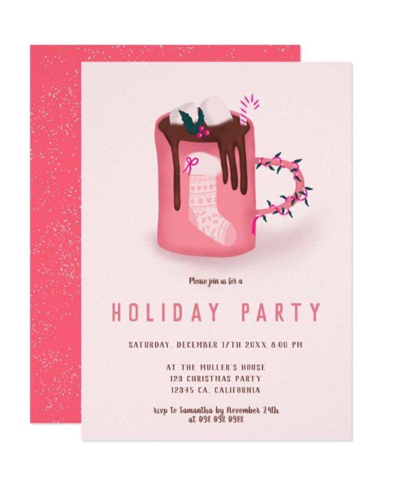 Cute christmas mug invitation preview mockup 2